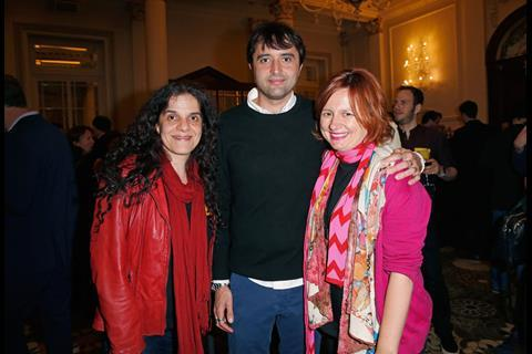 Producer Tanya Seghatchian, Director Andrew Neel and BFI London Film Festival Director Clare Stewart attend The Big Sundance London Party at the Langham Hotel on June 2, 2016 in London, England.